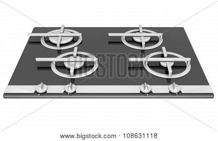 Black glass gas hob