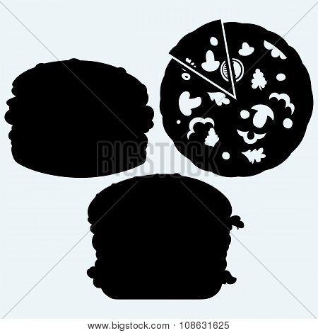Circular cut pizza and hamburger