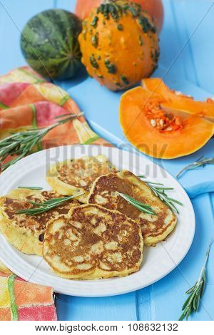 Pancakes With Pumpkin, Rosemary And Cheese
