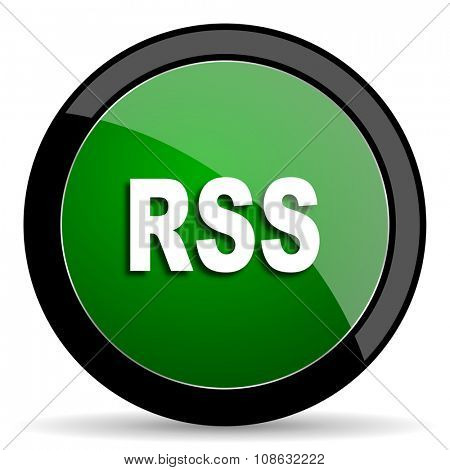 rss green web glossy circle icon on white background