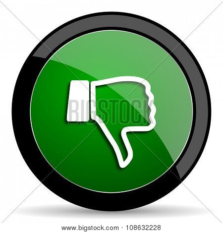 dislike green web glossy circle icon on white background