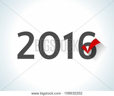 2016 written on white background with a red check mark.
