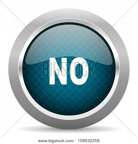 no blue silver chrome border icon on white background