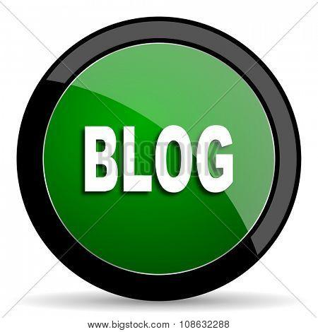 blog green web glossy circle icon on white background
