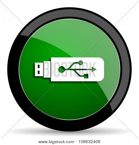 usb green web glossy circle icon on white background