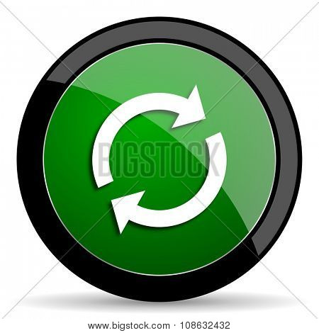 reload green web glossy circle icon on white background