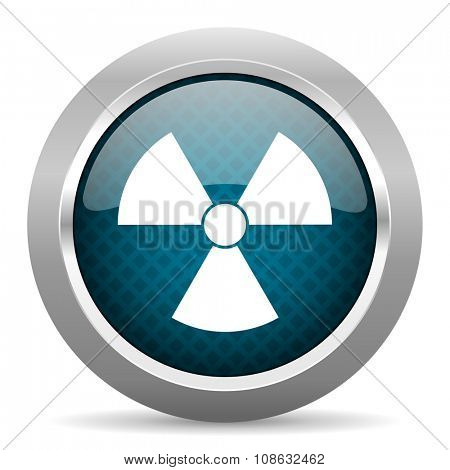 radiation blue silver chrome border icon on white background