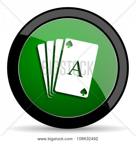 card green web glossy circle icon on white background