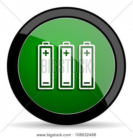 battery green web glossy circle icon on white background