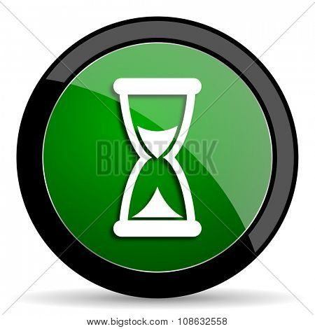 time green web glossy circle icon on white background