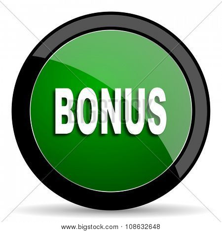 bonus green web glossy circle icon on white background