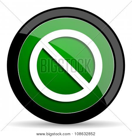 access denied green web glossy circle icon on white background