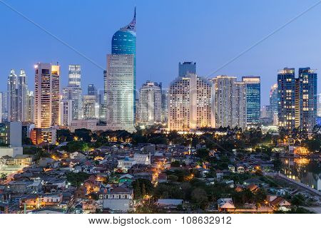 Jakarta Skyline With High-rise Buildings At  Sunset
