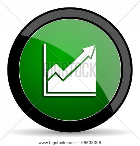 histogram green web glossy circle icon on white background
