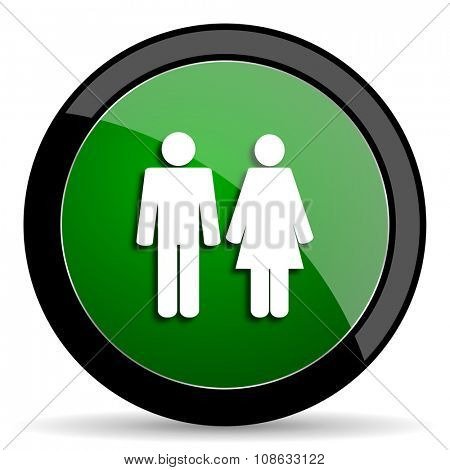 couple green web glossy circle icon on white background