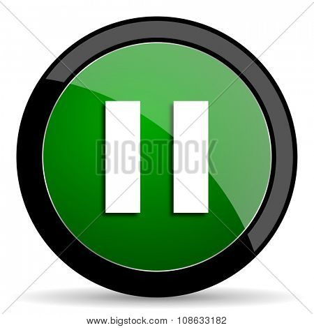 pause green web glossy circle icon on white background