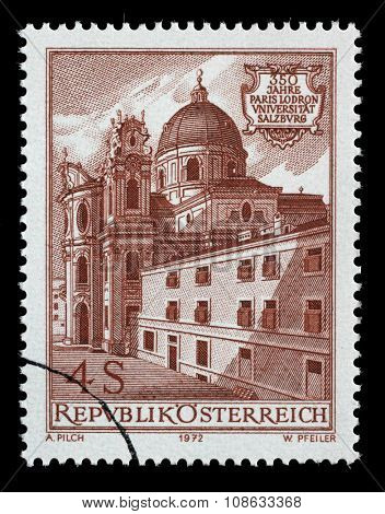 AUSTRIA - CIRCA 1972: a stamp printed in the Austria shows Church and Old University, 350th Anniversary of Paris Lodron University, Salzburg, circa 1972