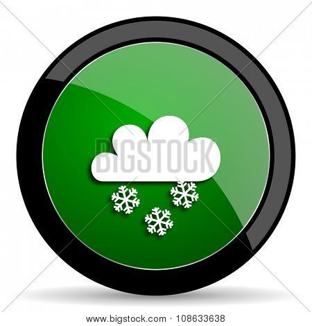 snowing green web glossy circle icon on white background