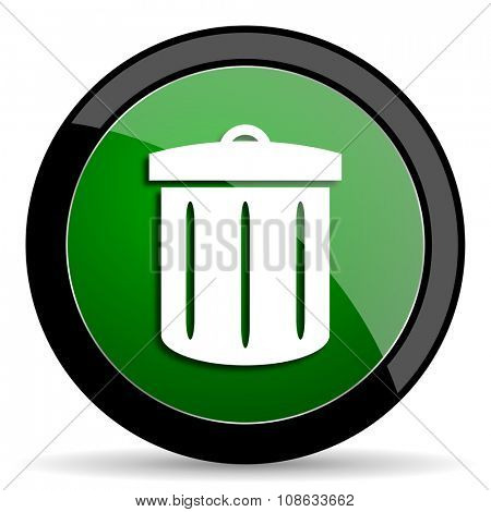 recycle green web glossy circle icon on white background
