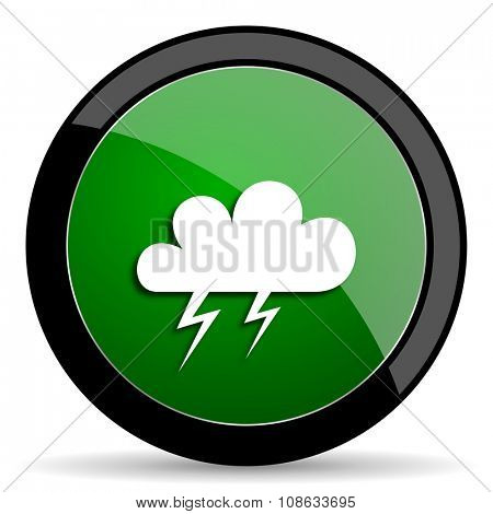 storm green web glossy circle icon on white background