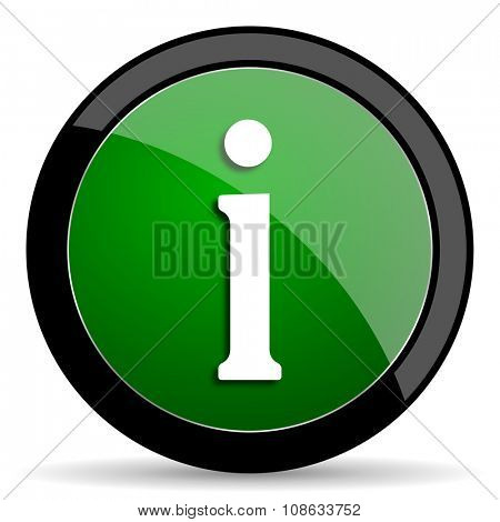 information green web glossy circle icon on white background