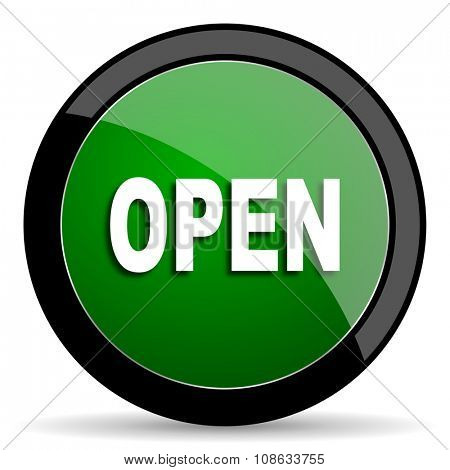 open green web glossy circle icon on white background