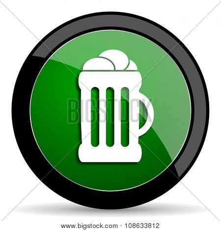 beer green web glossy circle icon on white background