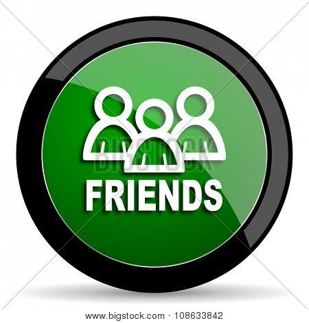 friends green web glossy circle icon on white background