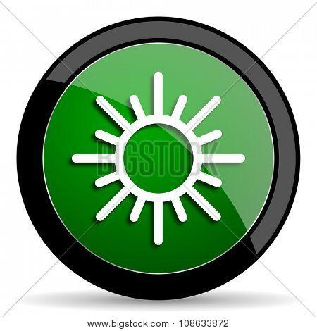 sun green web glossy circle icon on white background