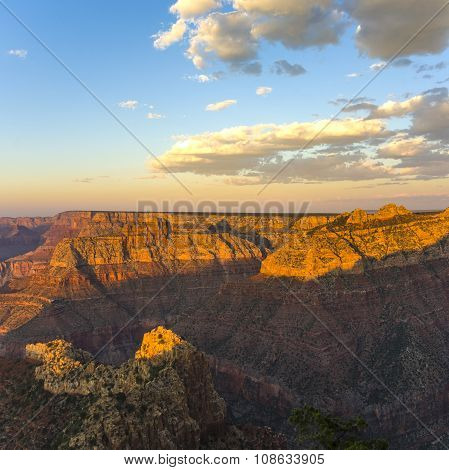 Colorful Sunset At Grand Canyon Seen From Mathers Point, South Rim
