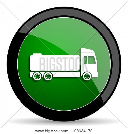 truck green web glossy circle icon on white background