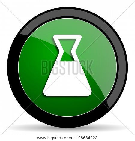 laboratory green web glossy circle icon on white background