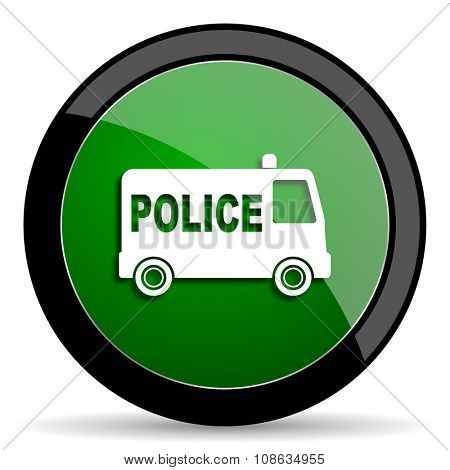 police green web glossy circle icon on white background