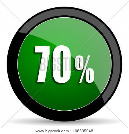 70 percent green web glossy circle icon on white background