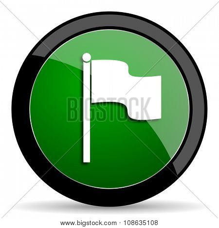 flag green web glossy circle icon on white background