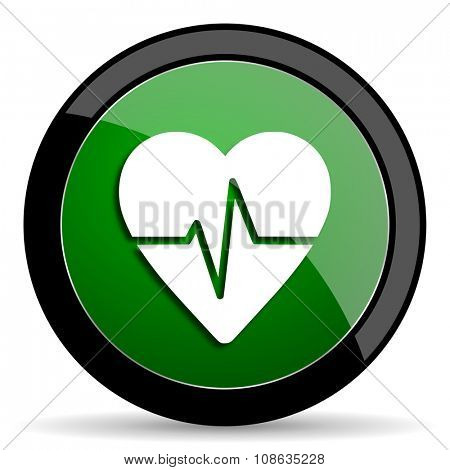 pulse green web glossy circle icon on white background