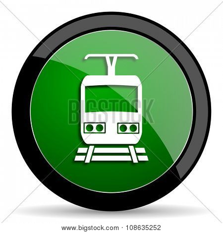 train green web glossy circle icon on white background