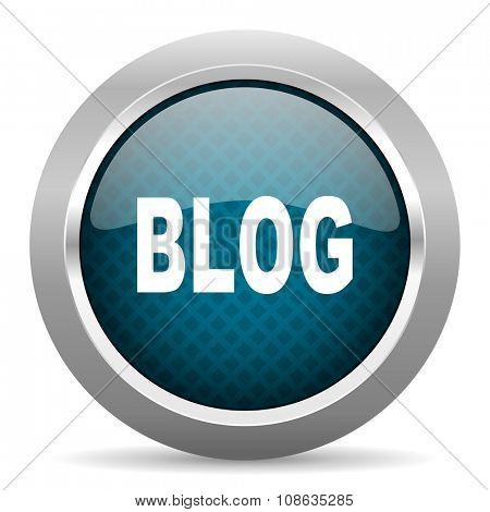 blog blue silver chrome border icon on white background