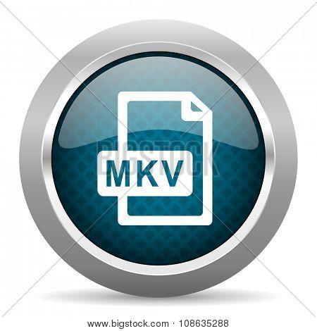 mkv file blue silver chrome border icon on white background