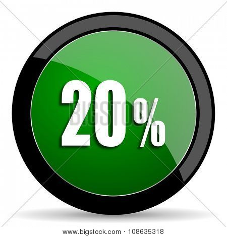20 percent green web glossy circle icon on white background