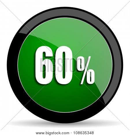 60 percent green web glossy circle icon on white background