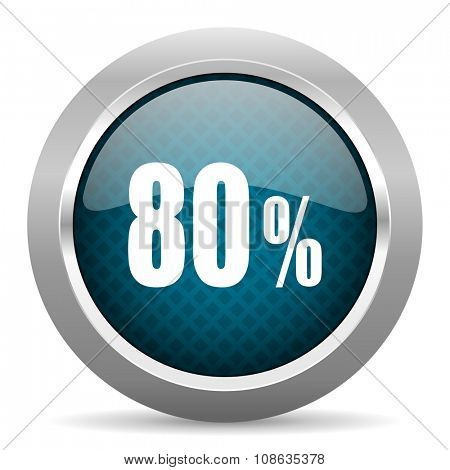 80 percent blue silver chrome border icon on white background