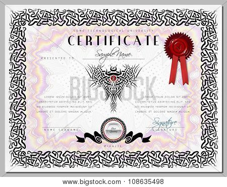 Gift Certificate / Diploma / Award Template With Border As Celtic Pattern And Elements In Vector