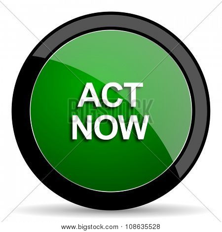 act now green web glossy circle icon on white background
