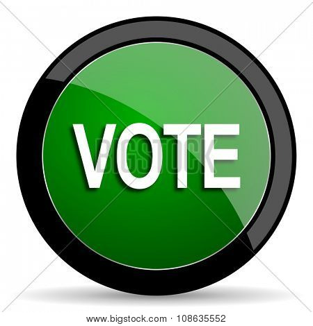vote green web glossy circle icon on white background