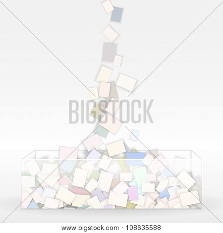 fall paper note in glass box background,