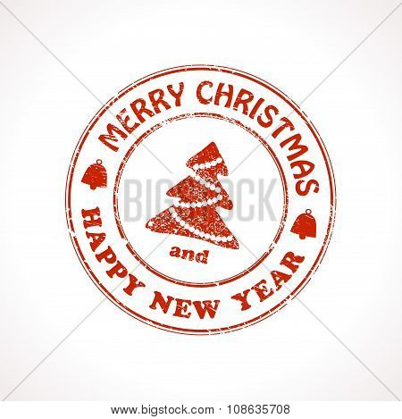 Isolated stamp Christmas greeting