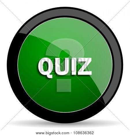 quiz green web glossy circle icon on white background
