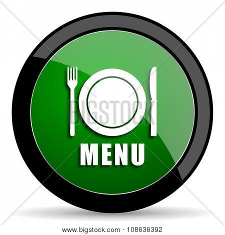 menu green web glossy circle icon on white background