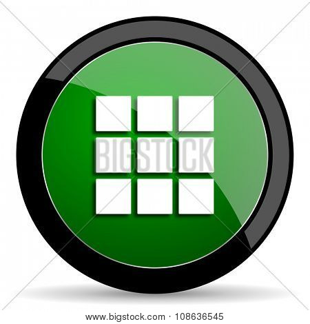 thumbnails grid green web glossy circle icon on white background